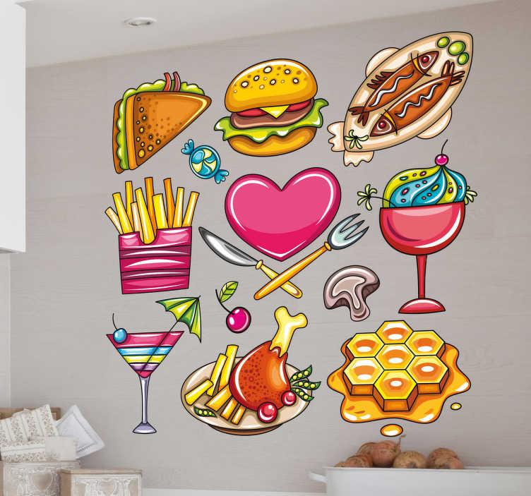 TenStickers. 插图心脏食品贴花收藏. 墙贴纸-贴花-各种食物的色彩丰富的彩色插图。薯条,汉堡,鱼,冰淇淋,华夫饼等等。