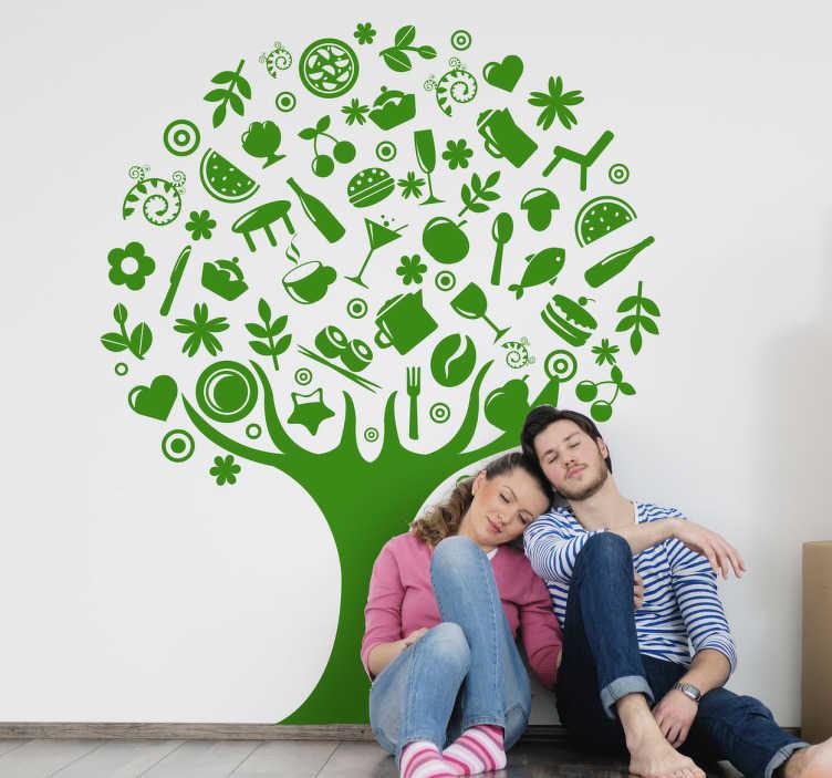 TenStickers. Naklejka drzewo jedzenie. Pomysłowa naklejka na ścianę w kształcie drzewa na którym zamiast liści są ikony nawiązujące do jedzenia.