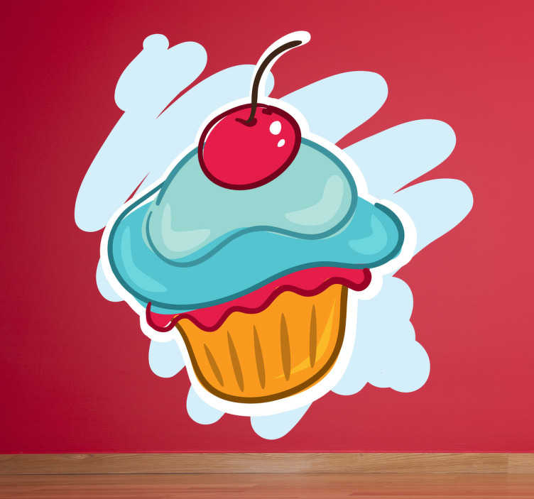 TenStickers. Cup cake and cherry wall decal. Colourful cupcake wall sticker ideal for decorating your kitchen or dining room. This food wall sticker shows a sweet muffin with a cherry on top in front of a stylish blue background. Perfect wall decor to get you in the mood for eating!