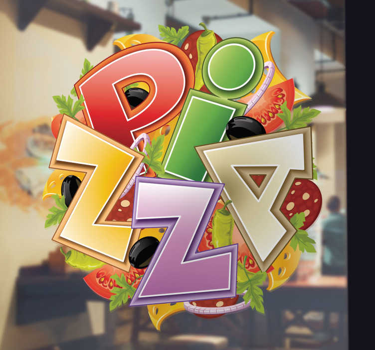 TenVinilo. Vinilo decorativo logo pizzeria. Si te gusta la pizza y quieres demostrarlo claramente hazte con este espectacular adhesivo.
