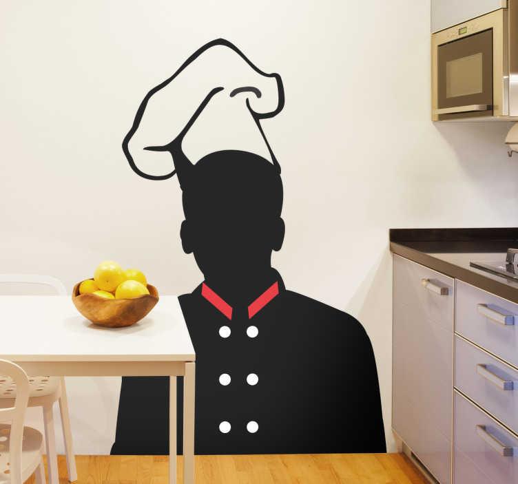 TenStickers. Naklejka szef kuchni. Naklejka dekoracyjna przedstawiająca czarną sylwetkę szefa kuchni z czerwonym kołnierzykiem i zarysem czapki kucharskiej.