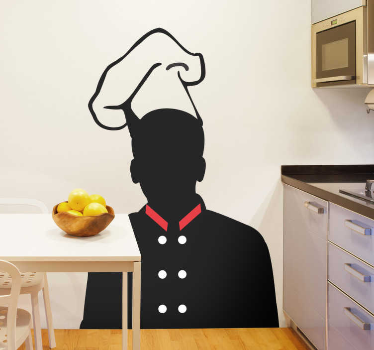 TenVinilo. Vinilo decorativo silueta chef con gorro. Ilustra las paredes de tu cocina con un adhesivo especial de todo un profesional.