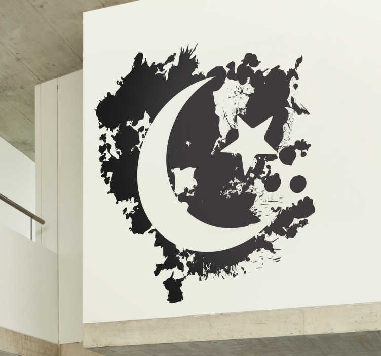 TenStickers. Sticker maan en ster. Personaliseer uw wanden met deze muursticker door deze te decoreren met deze muursticker van de maan en een ster.