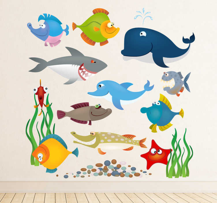 TenStickers. Aquarium Animals Kids Sticker. A lovely design illustrating sea creatures from our collection of under the sea wall stickers!