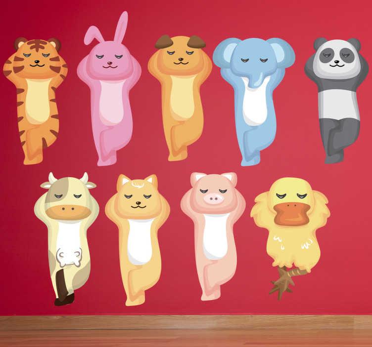 TenVinilo. Sticker infantil animales descansando. Divertida colección de pegatinas que incluye elefante, tigre, oso panda, vaca, pato entre otros.