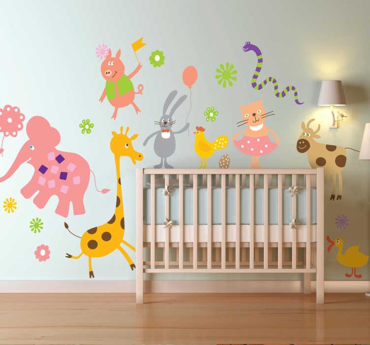 TenStickers. Muursticker kind kleurrijk dieren. Deze muursticker omtrent een origineel ontwerp van een collectie wilde dieren in vrolijke kleuren en vormen. Ideaal voor kinderen.
