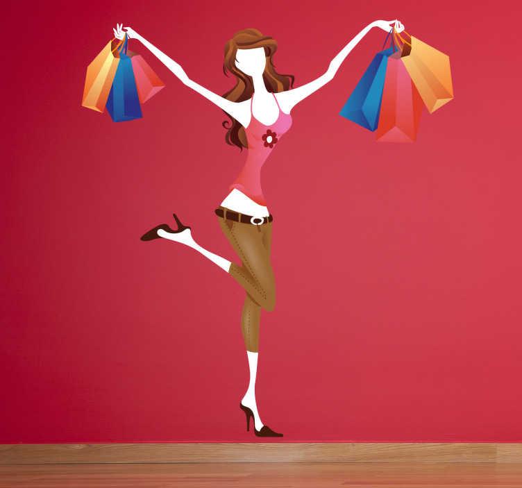 TenStickers. Adesivo original de cliente feliz. Adesivo ilustrando uma jovem cheia de sacolas de compras e é mais do que feliz em mostrá-lo. Fácil de aplicar.