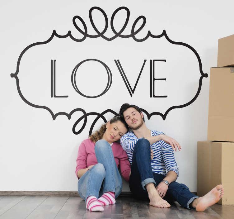 """TenVinilo. Vinilo decorativo cartel love. Diseño vintage en adhesivo de la clara y concisa palabra """"amor"""" en inglés, para los enamorados."""