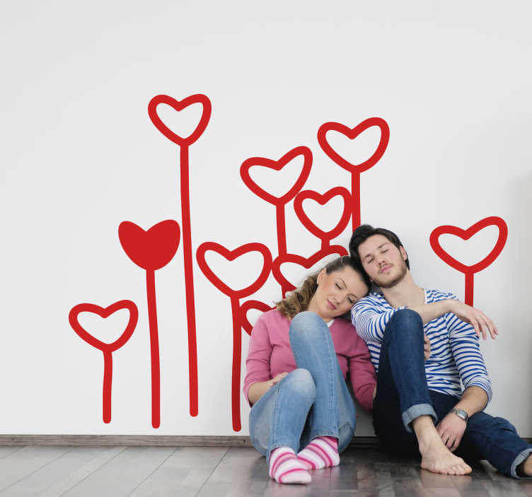 TenStickers. Wall sticker of love flowers. Celebrate Valentine´s Day  with this sticker or just simply feel the love with this beautiful design.