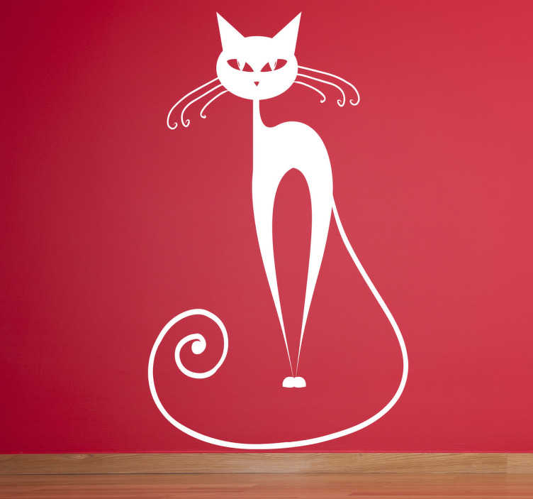 TenStickers. Curvy Whisker Cat Wall Sticker. Kids Wall Stickers - Stylish fun illustration of a spooky cat. Great for decorating areas for children. Available in various sizes and in 50 colours. Made from high quality vinyl. Easy to apply and easily removable.