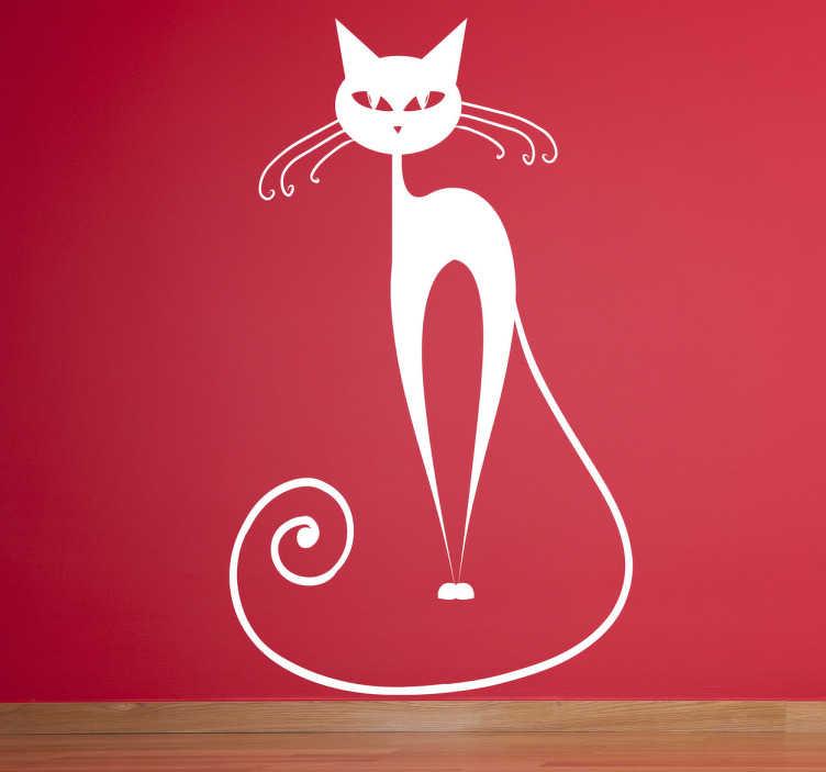 TenStickers. 弯曲的胡须猫墙贴纸. 一只幽灵猫的时髦的乐趣例证。非常适合儿童或猫咪爱好者的装饰区域。这款剪影猫墙贴是家居空墙的完美补充,为您的装饰提供一丝独创性和温馨感。
