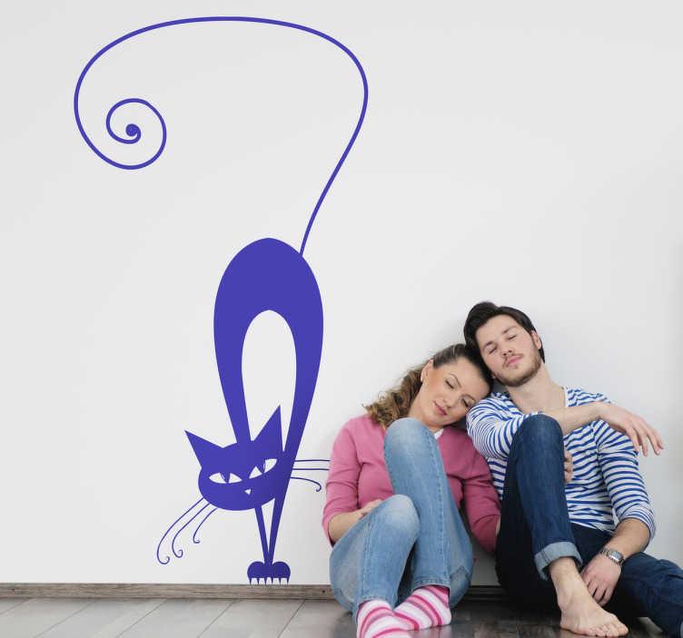 TENSTICKERS. 警告された猫の壁のステッカー. 何かの光景に驚いて見える猫の芸術的なエレガントなデザイン。さまざまな色とサイズで利用可能な猫の愛好家に最適です。このシンプルなペットの壁のステッカーは、あなたの壁の空いているスペースに小さなものを追加するリビングルームやベッドルームに最適です。
