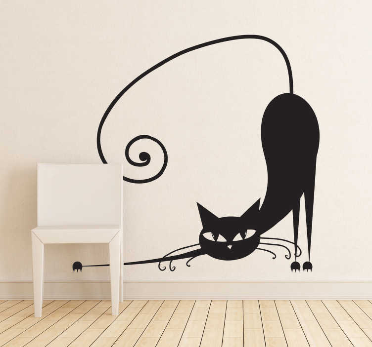 TenStickers. 拉伸猫孩子贴纸. 这个儿童房的装饰理念很棒,这个创意贴纸展示了一只伸展的猫咪。适合猫咪爱好者。
