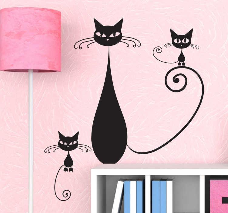 TenVinilo. Vinilo decorativo la familia del gato. Ilustración en adhesivo de una mamá felina y sus dos crías. Para todos aquellos amantes de este animal doméstico.