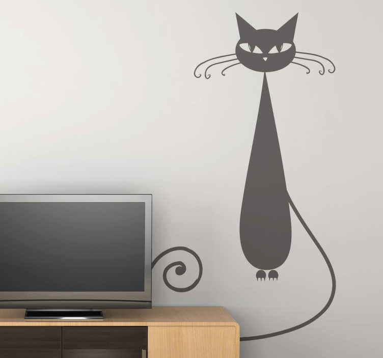 TenStickers. Slim Kitty Wall Sticker. The cat wall sticker contains an illustration of a slim and slightly spooky looking cat with long whiskers. This animal decal is ideal for cat or animal lovers.