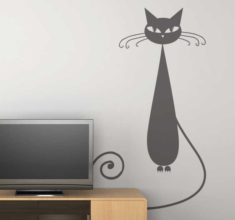 Sticker decoratie mooie kat