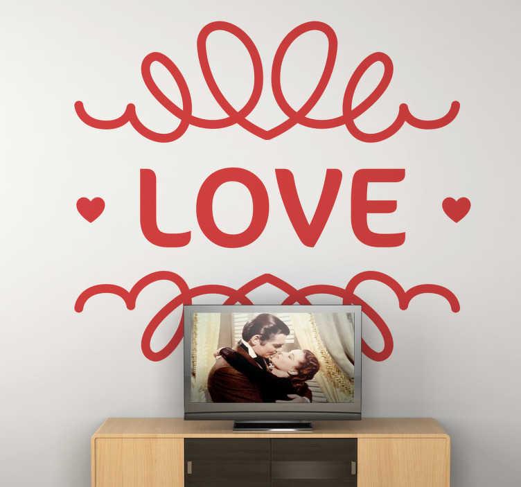 TenStickers. Naklejki na ścianę z napisem Love. Świetny pomysł na wyrażenie miłości za sprawą prostej, monochromatycznej naklejki z napisem 'Love' oraz sybtelnymi wzorami wokół.