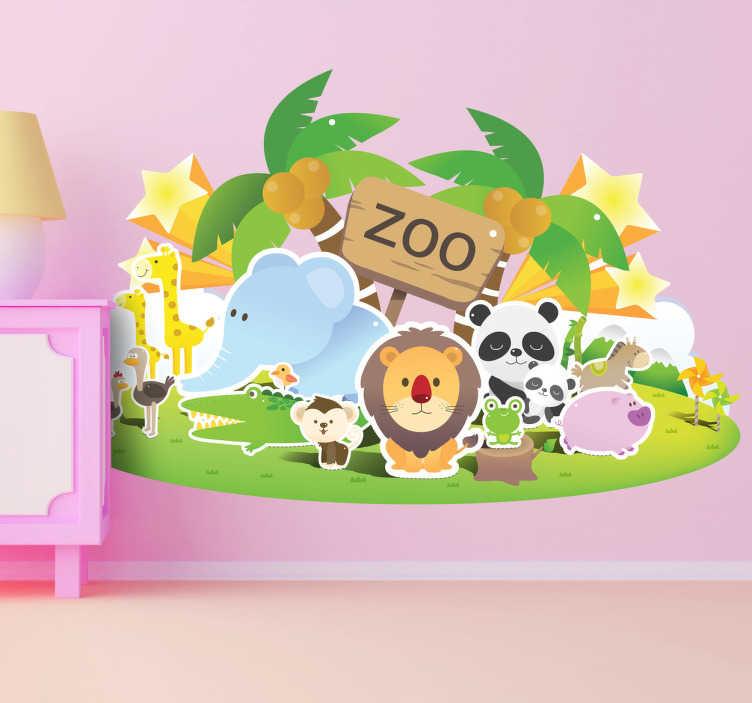 TenStickers. Naklejka dla dzieci zoo. Ładna naklejka dla dzieci przedstawiająca zoo. Znajdziesz tu mi.in takie zwierzęta jak: lwa, słonia, żyrafy, misia pande i wiele innych.