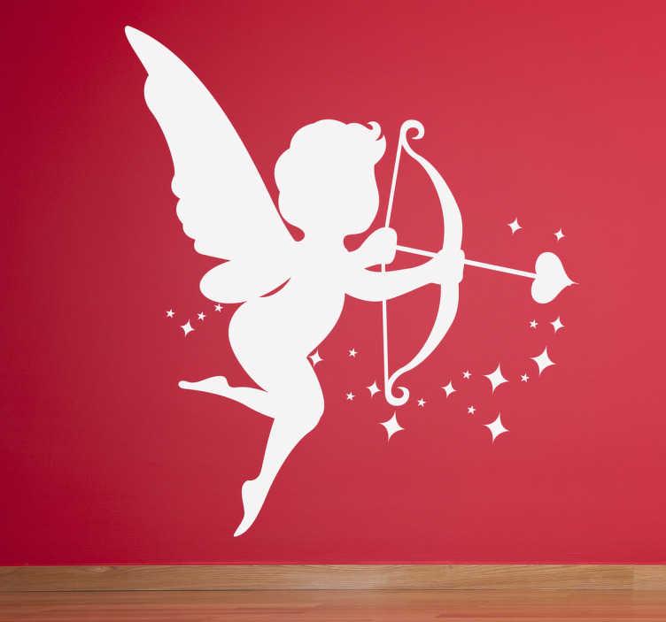 TenVinilo. Vinilo infantil silueta Cupido. Adhesivo de un pequeño querubín armado con el arco y la flecha del amor.