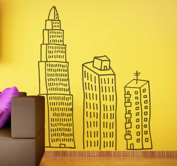 TenStickers. Three Building Line Wall Sticker. Wall Stickers - Decorate the walls of your home with this set of three hand drawn skyscrapers. Available in 50 colours and various sizes.