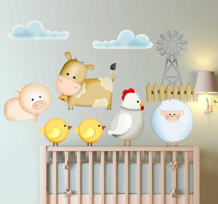 TenVinilo. Vinilo decorativo infantil granja. Original dibujo de tenvinilo. Sticker infantil con pollitos, gallina, vaca,oveja y cerdo.