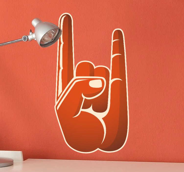 TenStickers. Sticker hand rock. Muursticker van een hand dat het bekende symbool vormt voor rock met zijn wijsvinger en pink gestrekt. Muurdecoratie voor de liefhebbers van rock.