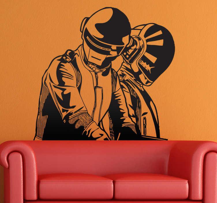 TenVinilo. Vinilo decorativo Daft Punk. Espectacular adhesivo con la ilustración de este famoso dúo de músicos franceses.