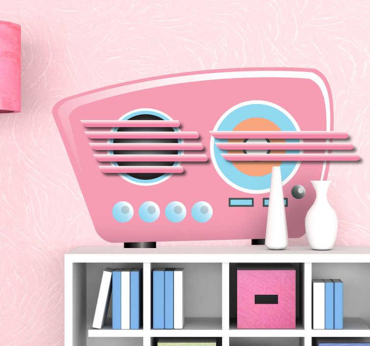 TenStickers. Sticker roze vintage radio. Een originele muursticker van een klassieke muziekspeler uit de fifties waarmee je een leuke toets kan geven aan de decoratie van je woning.