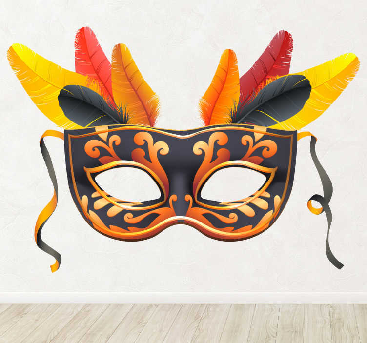 TenStickers. Wandtattoo Maske Karneval. Dieses schöne Wandtattoo zeigt eine detailiert gestaltete Faschingsmaske mit Federn und goldenen Ornamenten.