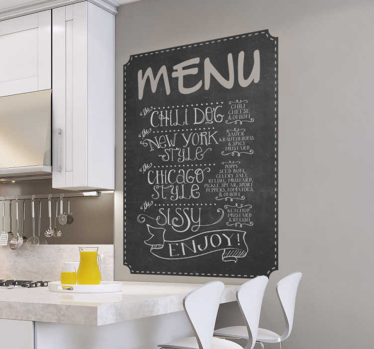 TenStickers. Menu chalkboard sticker. Chalkboard Stickers for kitchens, restaurants and bars. Show customers either what is on your menu or let them know what your specials are with this chalkboard decal.