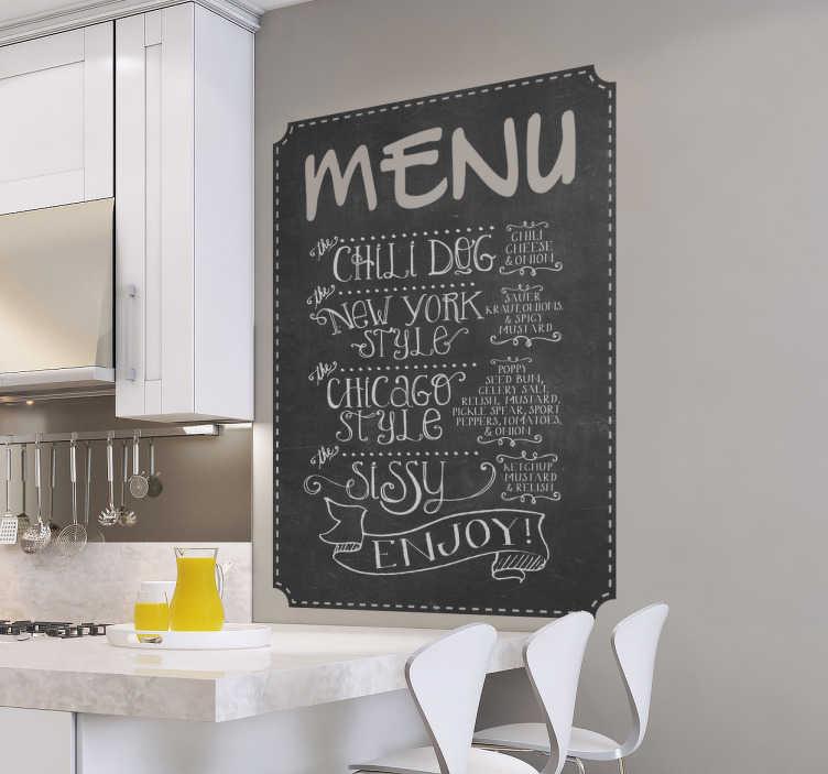 TenStickers. 메뉴 칠판 스티커. 부엌, 레스토랑 및 바를위한 칠판 스티커. 메뉴에 무엇이 있는지 고객에게 보여 주거나 칠판 데칼을 통해 특별 행사가 무엇인지 알리십시오.