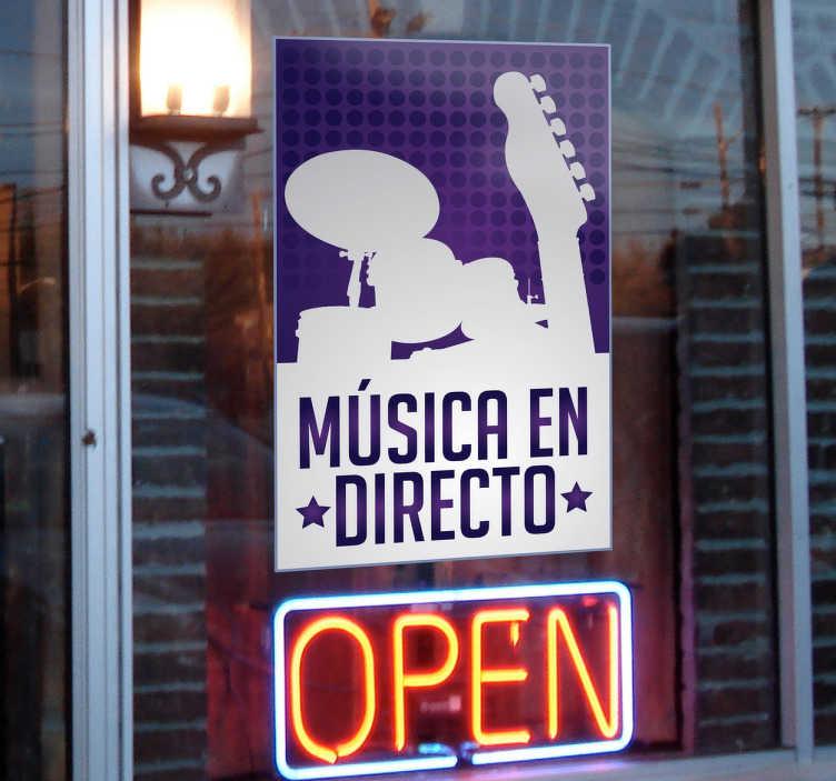 TenVinilo. Pegatina música en directo. Si en tu local programáis regularmente conciertos hazlo saber a tus clientes con este distintivo adhesivo.