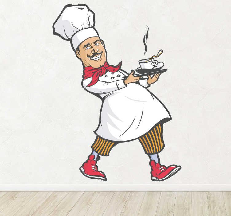 TenStickers. Naklejka dekoracyjna szef kuchni. Naklejka na ścianę przedstawiająca sympatycznego kucharza niosącego goracą kawę. Zabawny pomysł na zmianę wystroju w restauracji, czy barze.