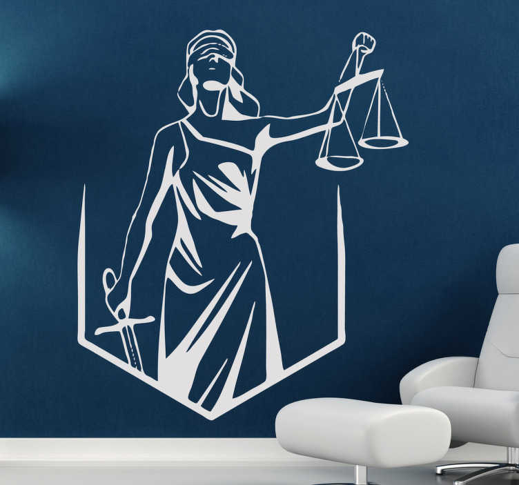 TenStickers. Blind Justice Wall Sticker. A wall sticker illustrating Lady Justice with a blindfolded, a sword and a scale. Use this sticker to decorate your office to create the atmosphere of law and all things legal. Monochrome decal available in various sizes and 50 different colours.