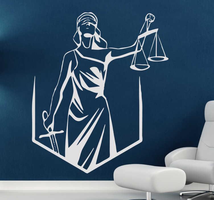 TENSTICKERS. 盲目の正義の壁のステッカー. 壁のステッカーは、目隠し、剣、鱗でレディース・ジャスティスを描いています。あなたのオフィスを飾るためにこのステッカーを使用して、法律の雰囲気と合法なものを創造してください。さまざまなサイズと50種類の異なる色で利用可能なモノクロデカール。