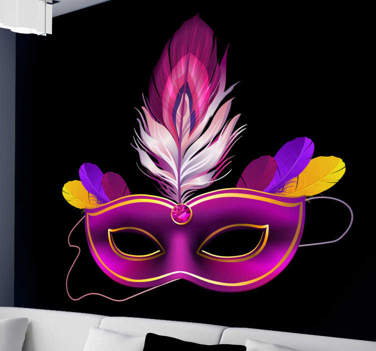 TenStickers. Colombina Purple Mask Decorative Decal. Decorate your walls with this mysterious vinyl decal of a colombina mask from our collection of purple wall stickers.
