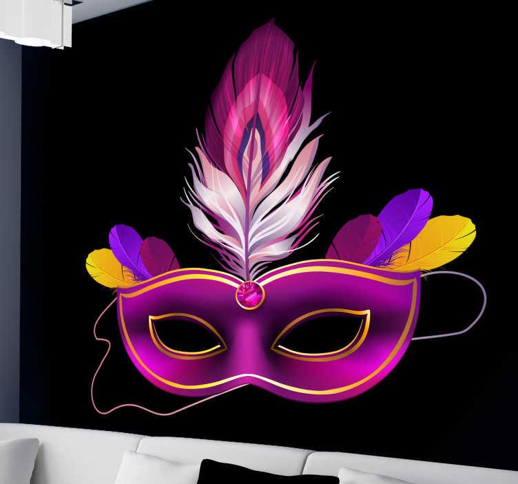 TenStickers. Wandtattoo geheimnisvolle Maske. Dekorieren Sie Ihre Wand mit diesem geheimnisvollen Wandtattoo einer Maske. Bunt, mit Federn und gleichzeitig elegant.