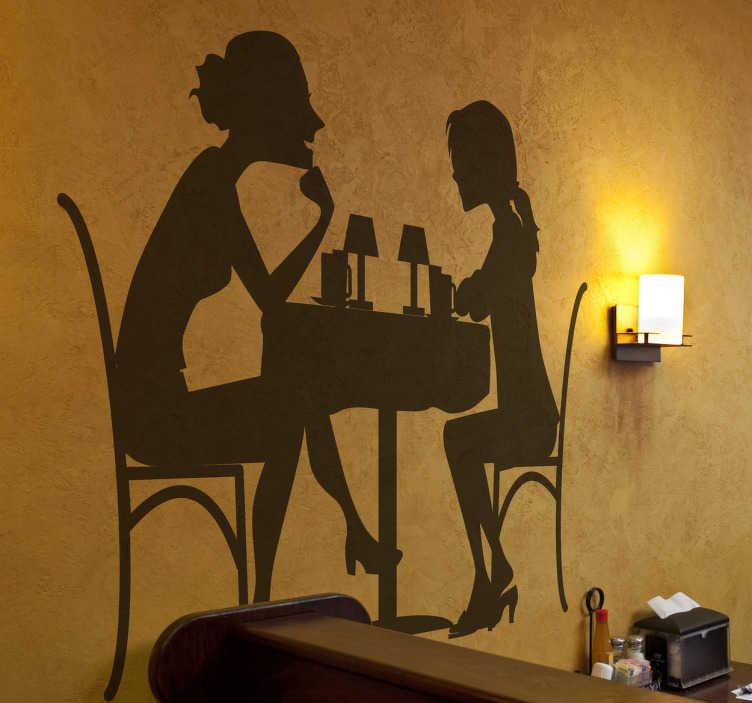 TenStickers. Sticker dîner amies. Adhésif mural illustrant un dîner entre deux copines.Utilisez ce stickers pour décorer votre cuisine.