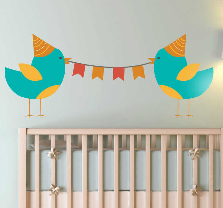 TenStickers. Kids Party Birds Wall Sticker. A playful and fun illustration of a couple of party birds from our unique collection of teal wall stickers to decorate your children's room.
