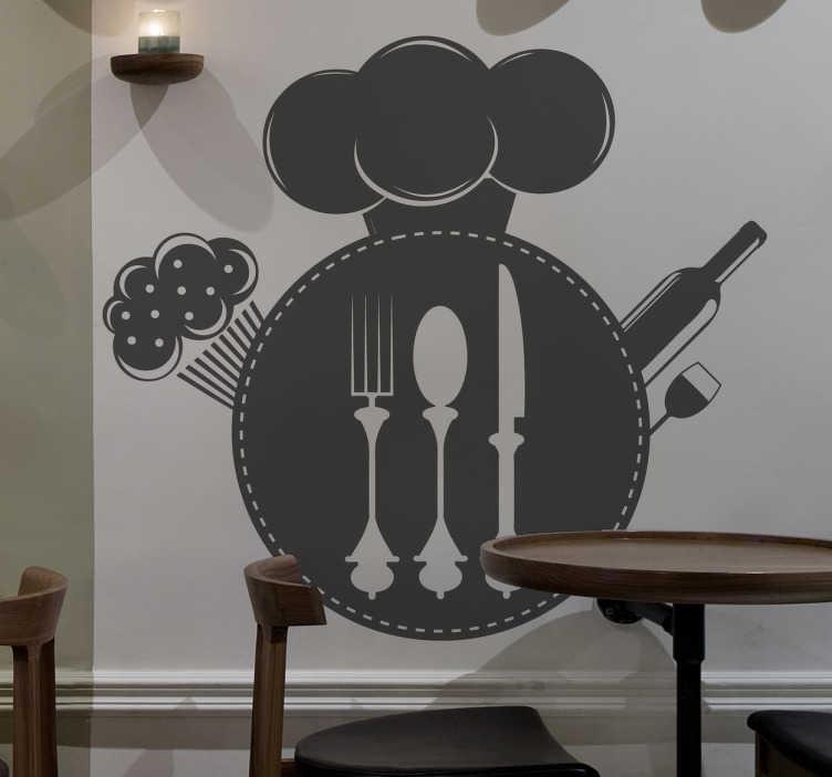 TenStickers. Sticker decoratie restaurant. Een leuke muursticker voor de decoratie van uw restaurant of eetkamer! Een wandsticker van een koksmuts, bestek, en een fles wijn.