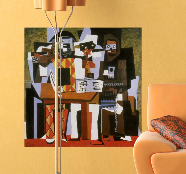 TenStickers. Sticker decorativo tre musici Picasso. Arlecchino, Pulcinella e un monaco canterino. Un adesivo murale che raffigura la celebre opera di Pablo Picasso intitolata: I Tre Musici. Il dipinto costituisce uno dei massimi esempi di cubismo sintetico.