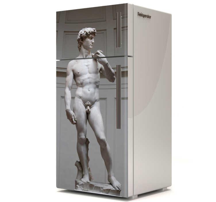 TenStickers. Vinil decorativo David de Michelangelo. Dá um toque monumental e renascentista ao teu frigorífico com este vinil decorativo. A escultura de David de Michelangelo agora no teu frigorífico.