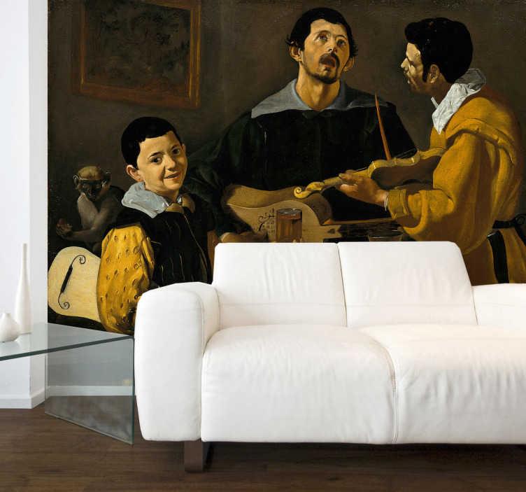 TENSTICKERS. ベラスケス3人のミュージシャンの壁の壁画. あらゆる場所の芸術愛好家にぴったりの粘着壁壁画、この壁のビニールは、有名なスペインの画家の作品の最も古いものの1つを特徴としています