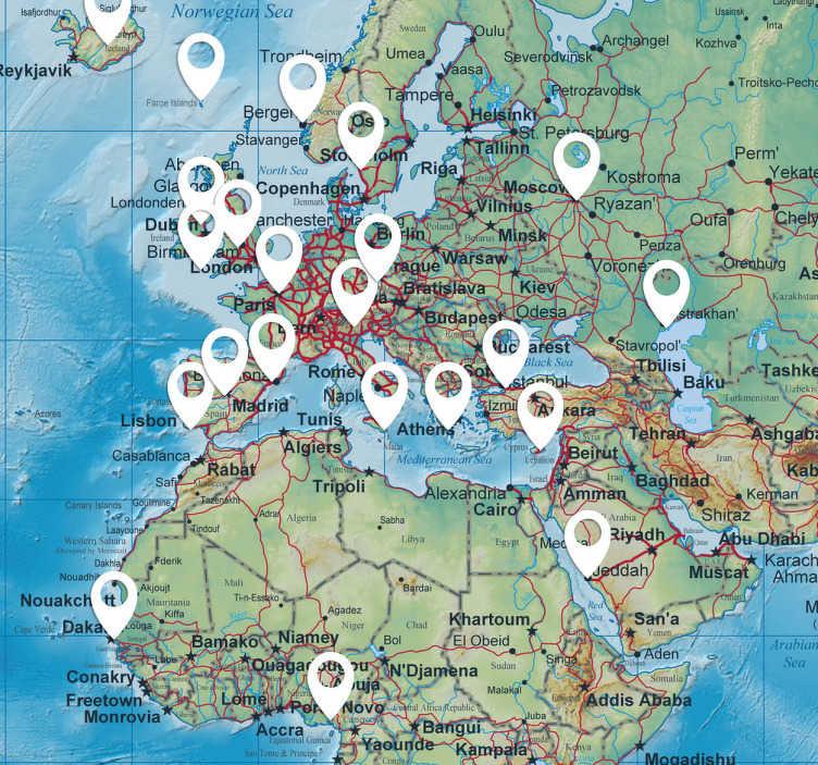 TenStickers. Ortmarkierung Aufkleber. Mit diesen Stickern können Sie alle Orte auf Ihrer Wandtattoo Weltkarte markieren, die Sie schon besucht haben. So wird Ihre Wand zu einem Hingucker.