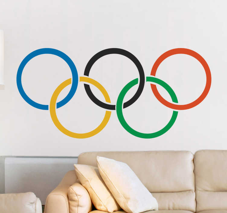 TenStickers. Logo Olympische spelen sticker. Decoreer ruimtes op een leuke en gemakkelijk manier met deze sticker met het logo van de Olympische spelen. Dagelijkse kortingen.