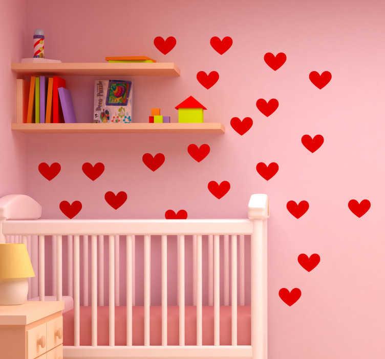 TenStickers. Herzchen Aufkleber. Bringen Sie Liebe ins Kinderzimmer! Diese schönen roten Herzen machen jede Wand zu etwas Besonderem.
