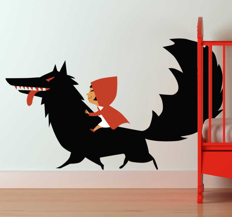 TenStickers. Red Riding Hood & The Wolf. Kids Stickers - Illustration inspired by the childhood classic Red Riding Hood. This fairy tale wall sticker is perfect for creating a warm and colourful atmosphere in any child's bedroom or nursery.