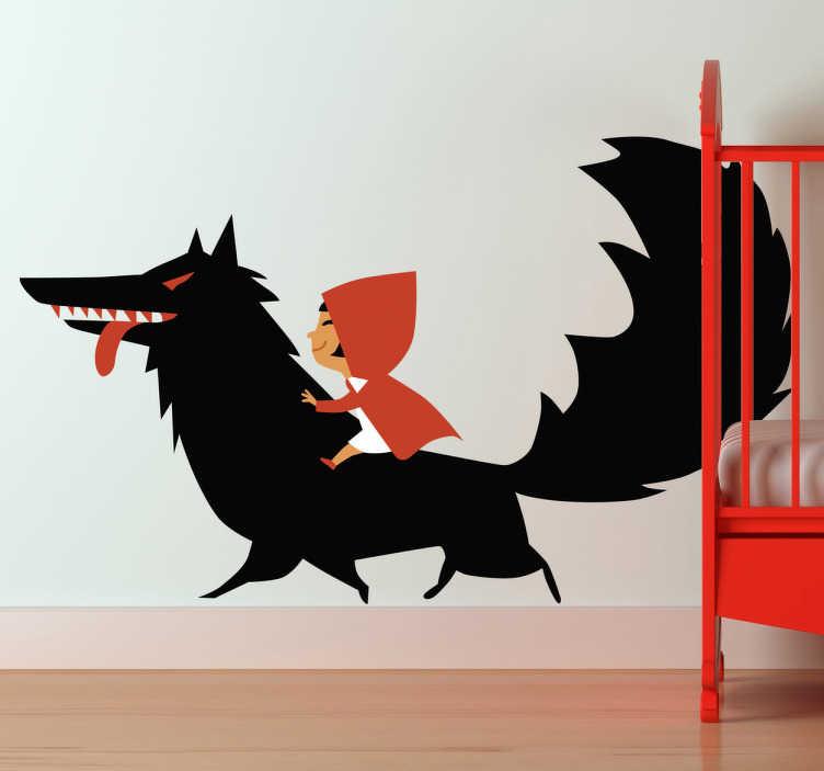 TenStickers. Adesivo bambini a dorso di lupo. Sticker decorativo ispirato alla fiaba di Cappuccetto Rosso. Un'improbabile eroina a cavallo del lupo feroce.