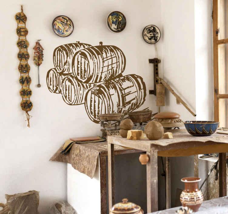 TENSTICKERS. セラーバレルイラストウォールステッカー. あなたとあなたのゲストのための古典的な雰囲気を作成するためにあなたのワインセラーやバーを飾るための5つのワインバレルの古典的な壁のステッカー。様々なサイズと50色でご利用いただけます。