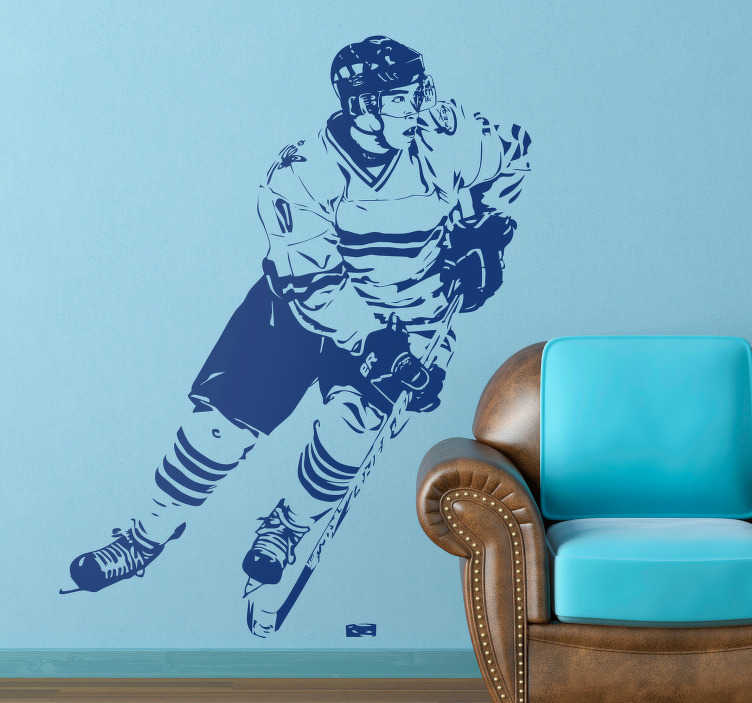 TenStickers. Ice Hockey Player Wall Sticker. This ice hockey wall sticker is an great design made for any fan of the cool sport. The ice hockey decal illustrates an ice hockey player dribbling with the puck.